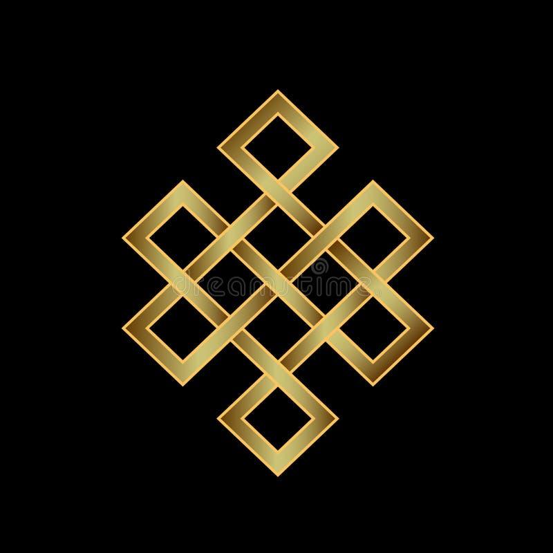 Złota Niekończący się kępka Pojęcie karmy royalty ilustracja