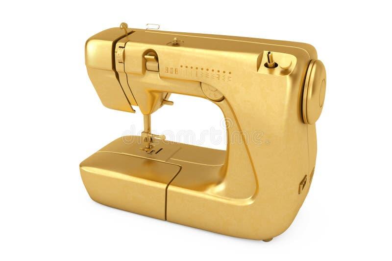 Złota Nowożytna Szwalna maszyna świadczenia 3 d royalty ilustracja