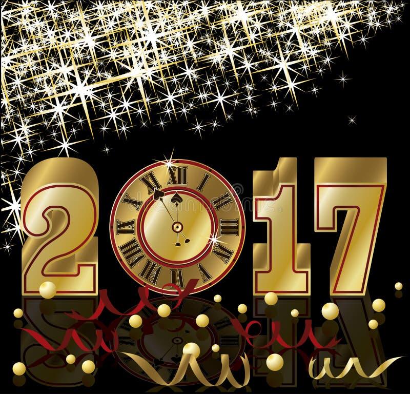 Złota 2017 nowy rok zaproszenia tapeta, wektor ilustracji