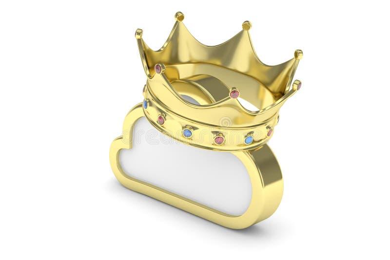 Złota obłoczna ikona świadczenia 3 d royalty ilustracja