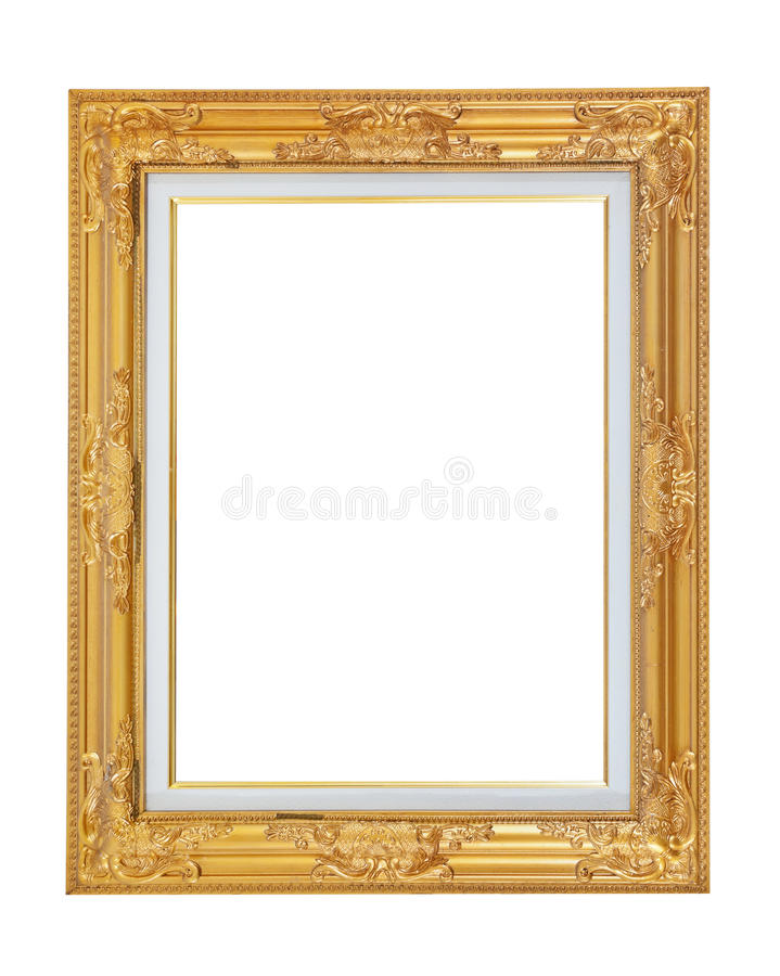 Złota obrazek rama odizolowywająca fotografia royalty free