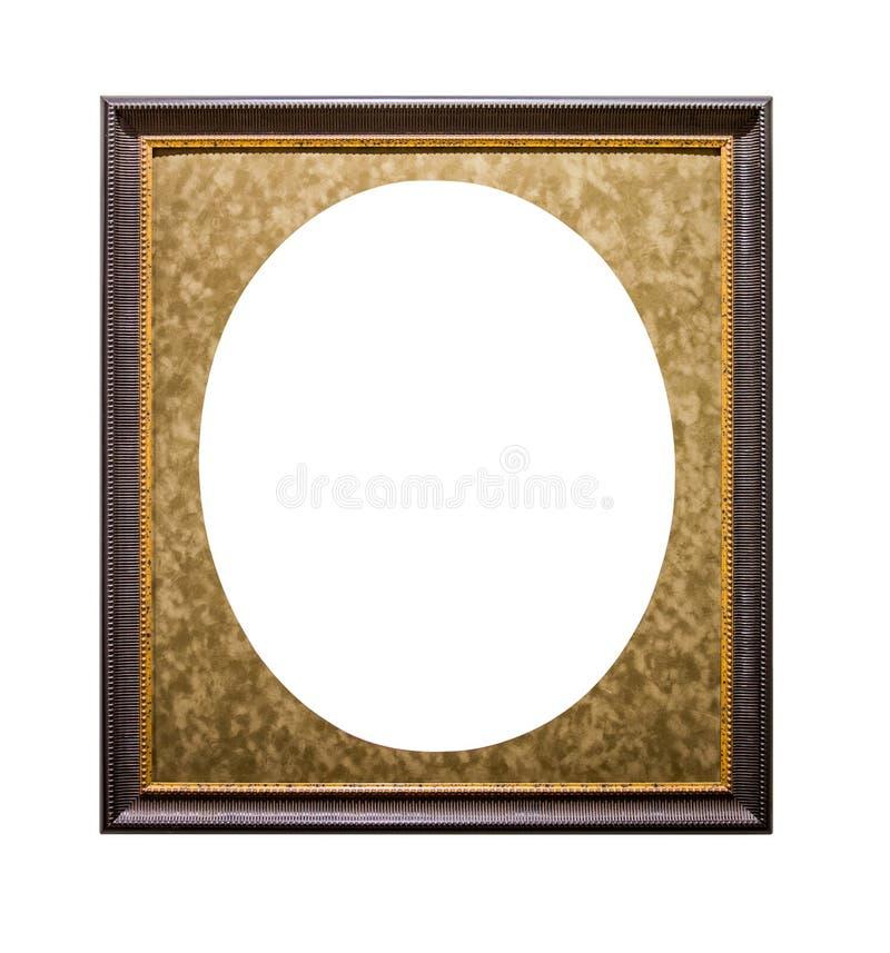 Złota obrazek rama z owalnym passepartout odizolowywającym na białym tle zdjęcie royalty free