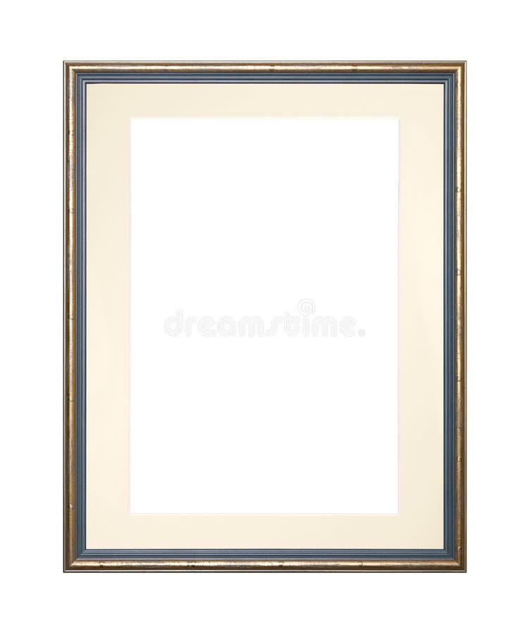 Złota obrazka lub fotografii rama z karton matą obrazy royalty free