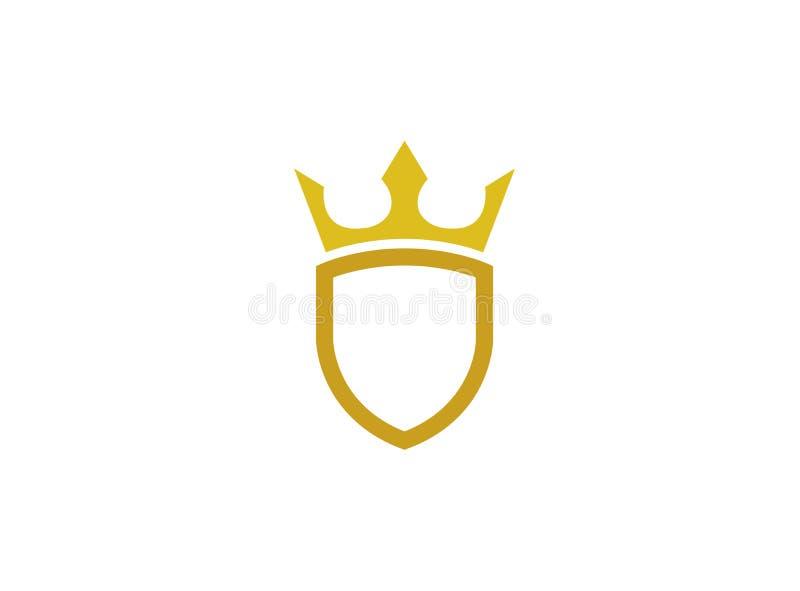 Złota osłona z koroną dla logo projekta ilustracji ilustracja wektor
