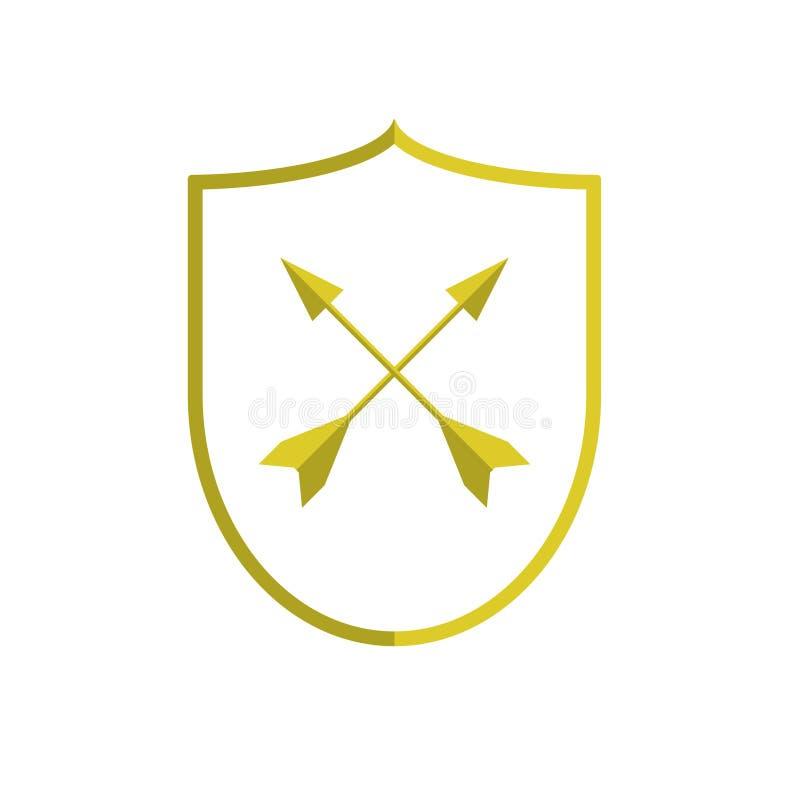 Złota osłona z strzała royalty ilustracja