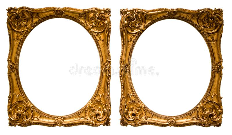 Złota owal rama dla fotografii na odosobnionym tle obrazy royalty free