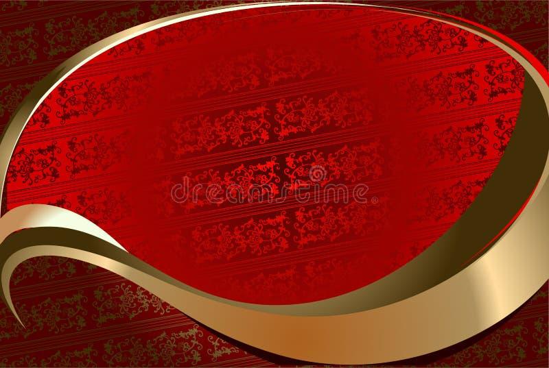 złota ozdobna czerwone tło ilustracji
