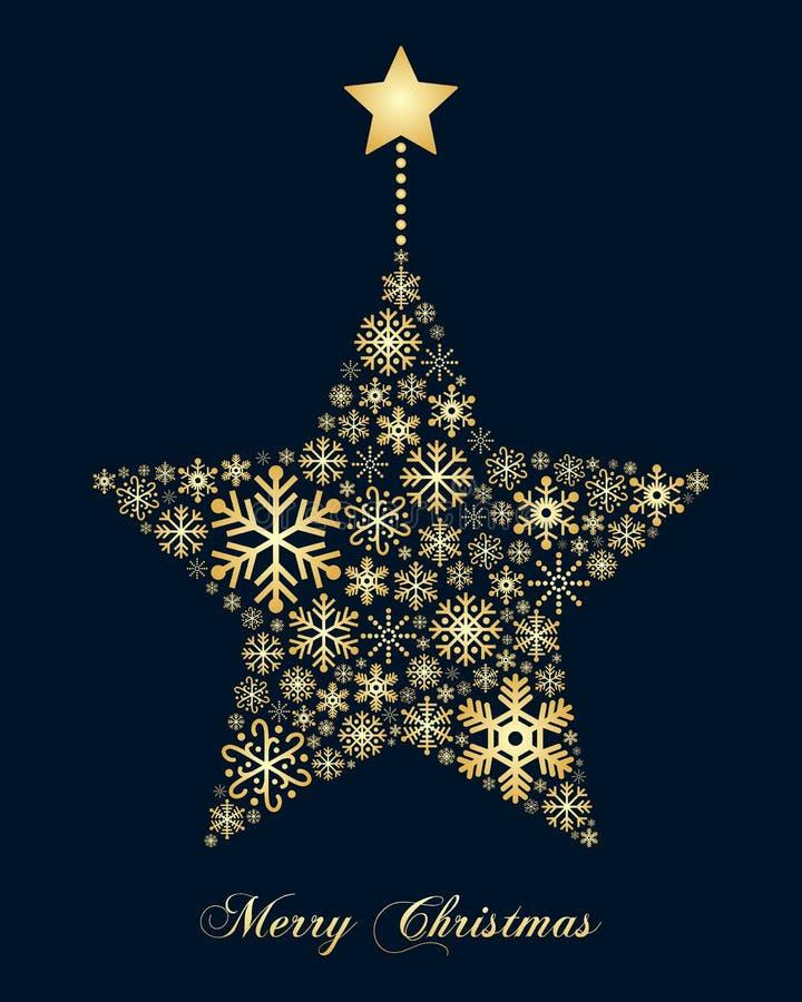 Złota płatków śniegu bożych narodzeń gwiazda ilustracji