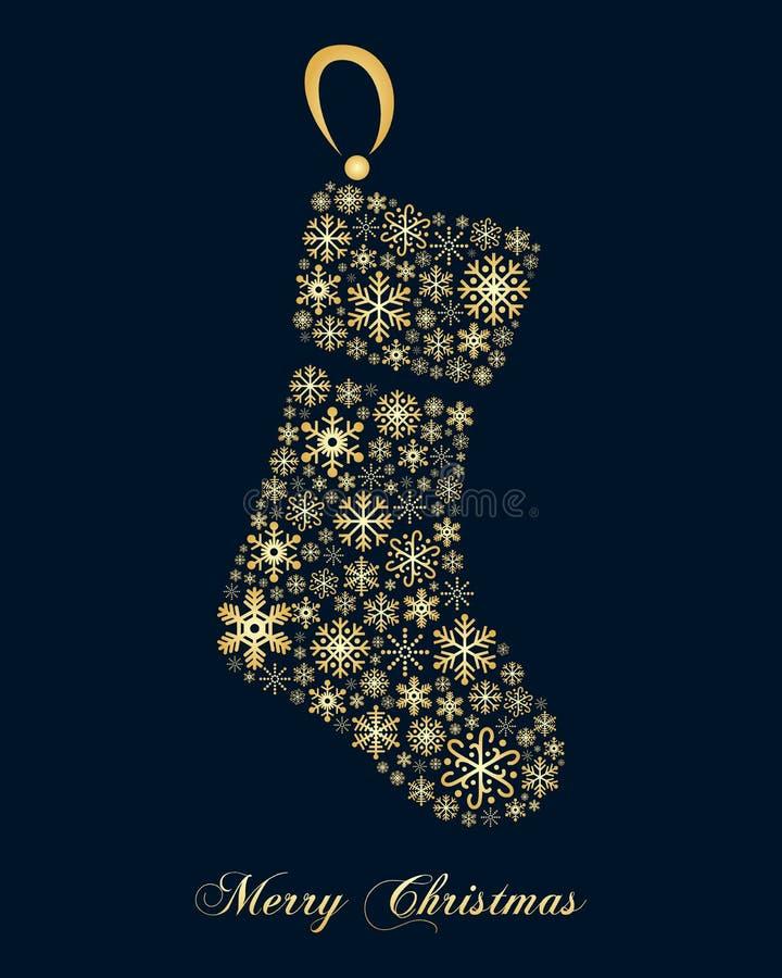 Złota płatków śniegu bożych narodzeń skarpeta ilustracja wektor