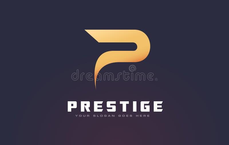 Złota P Listowy logo P Listowego projekta wektor royalty ilustracja