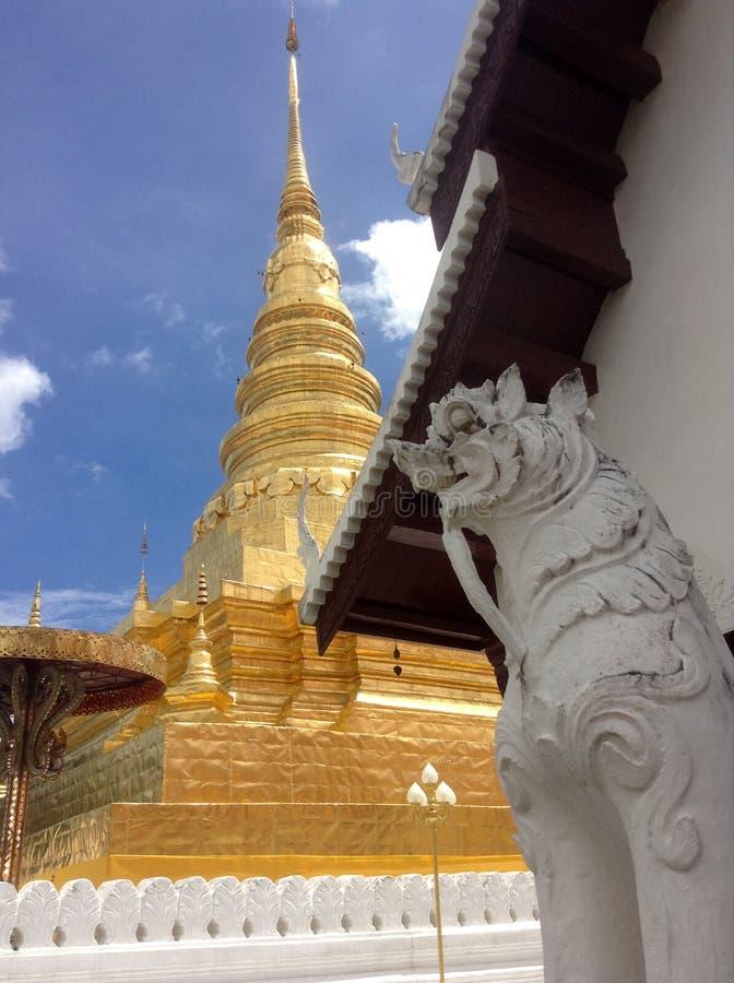 Złota pagoda i lew fotografia royalty free