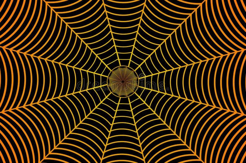 Złota pająk sieć na czarnym tle ilustracja wektor