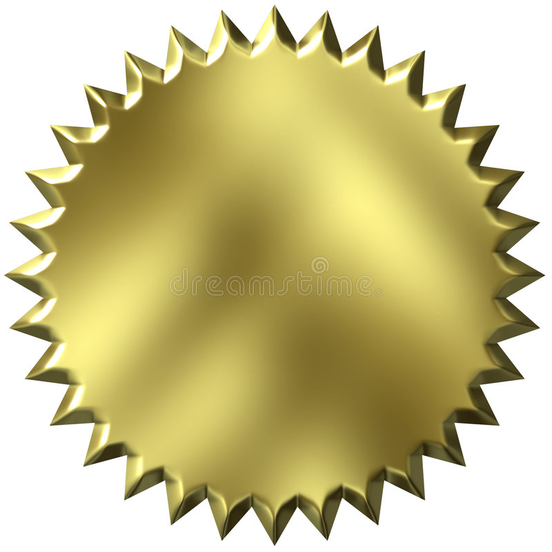złota pieczęć 3 d ilustracji