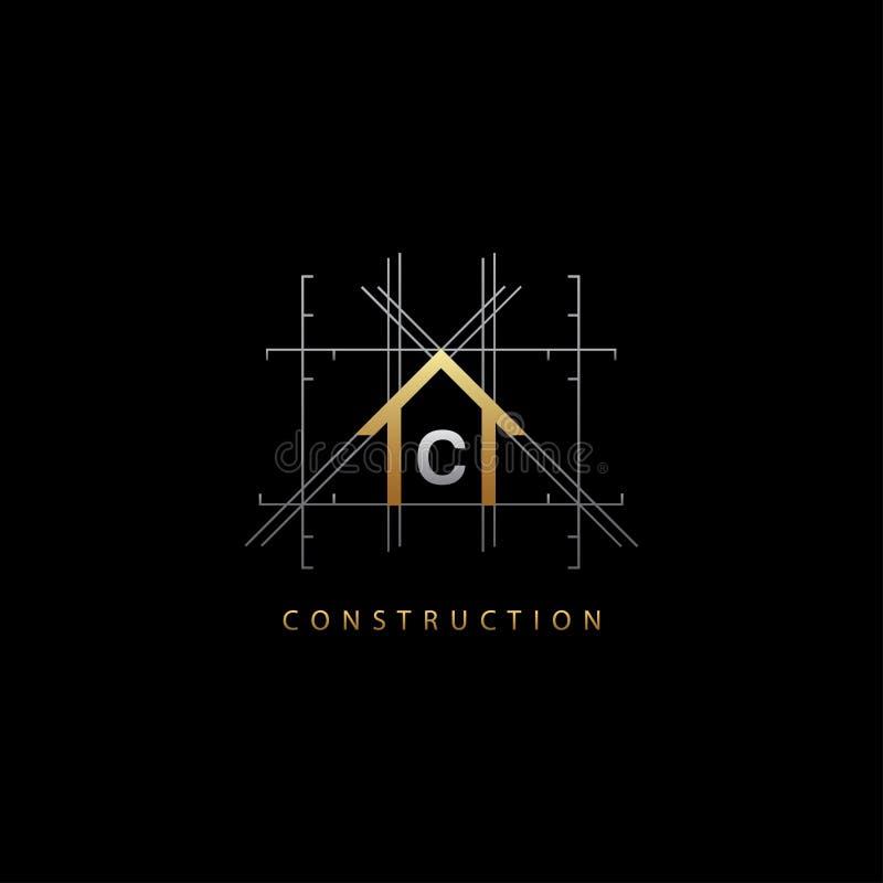 Złota pojęcia C listu Domowy logo ilustracja wektor
