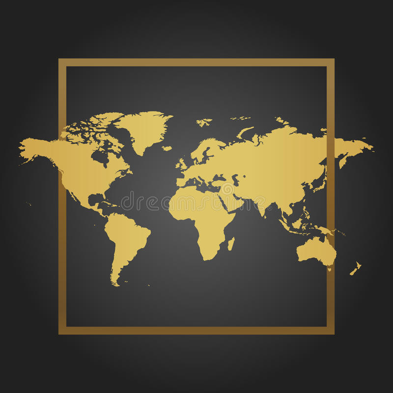 Złota Polityczna Światowa mapa w czarnym tle z ramą Przestrzeń dla teksta i wycena również zwrócić corel ilustracji wektora ilustracja wektor