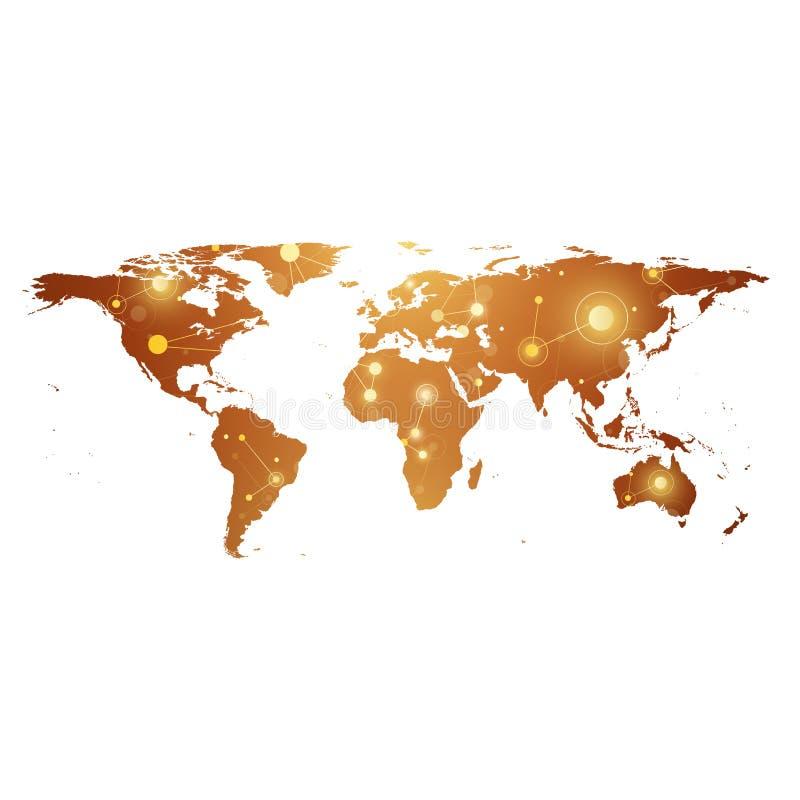Złota Polityczna Światowa mapa z globalnym technologia networking pojęciem Cyfrowych dane unaocznienie Naukowy cybernetyczny royalty ilustracja
