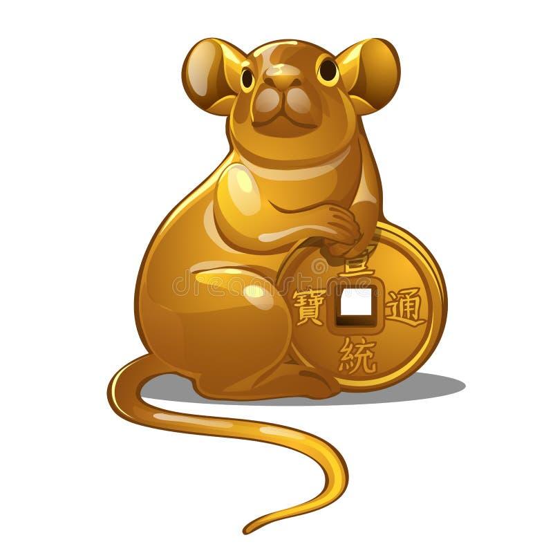 Złota postać mysz Chiński horoskopu symbol royalty ilustracja