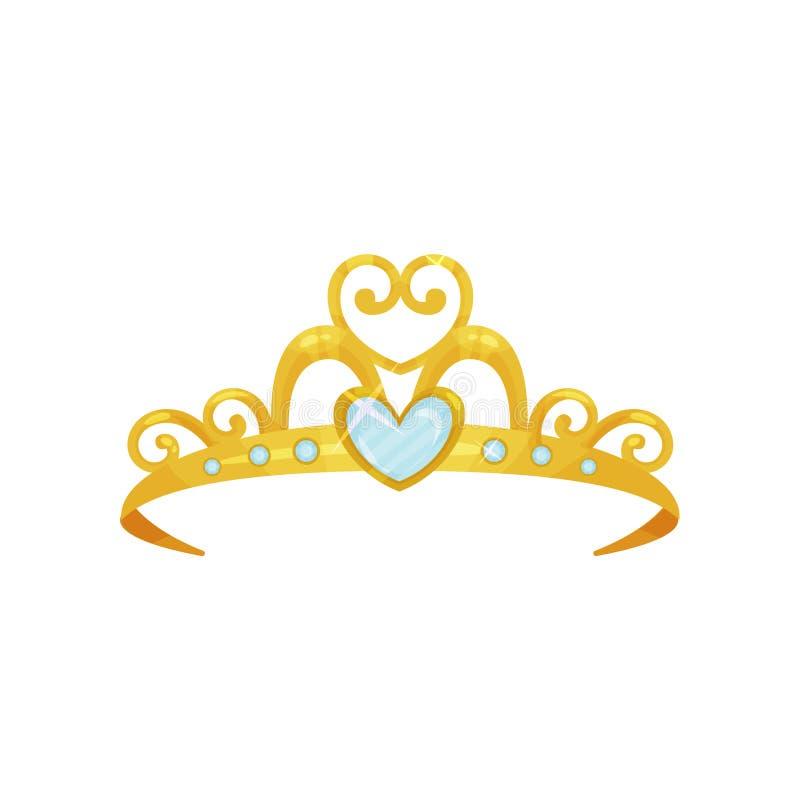 Złota princess tiara Piękna królowej korona dekorował z sześć błękitnymi małymi gemstones i jeden dużym sercowatym klejnotem royalty ilustracja