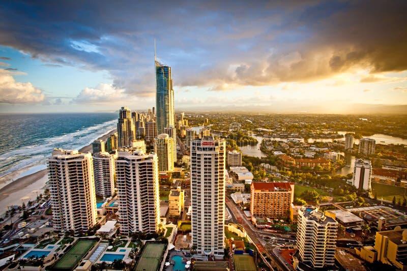 Złota Queensland Australia Q1 wieczór Brzegowa scena obrazy stock