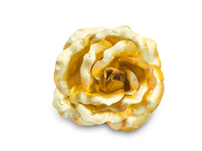 Złota róża na białym tle obrazy stock