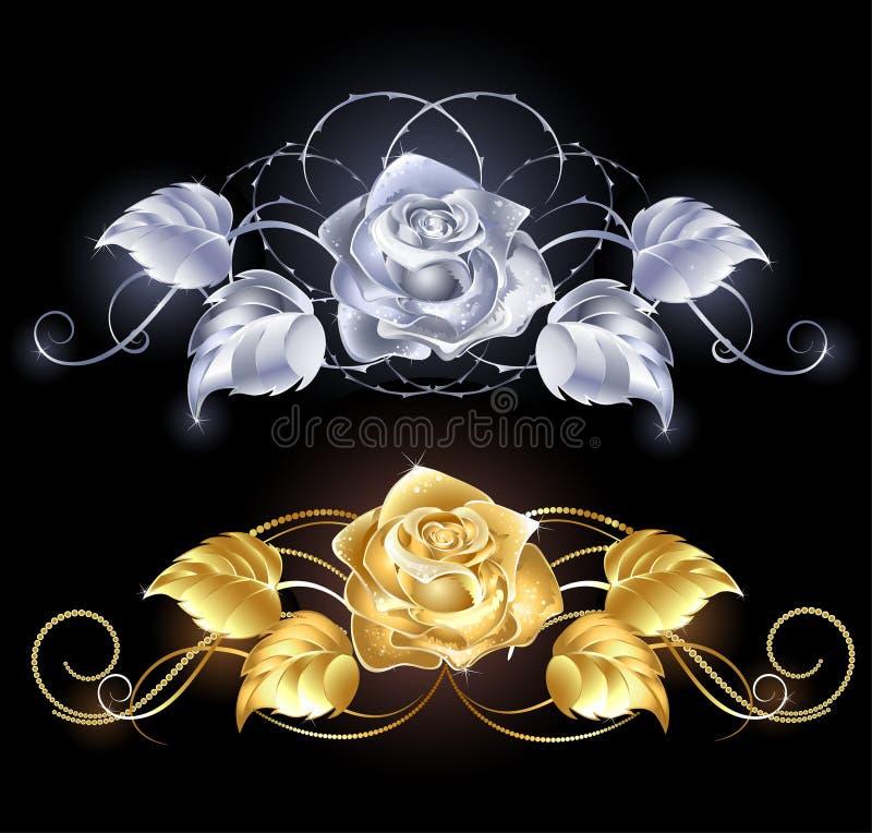 złota róży srebro ilustracja wektor