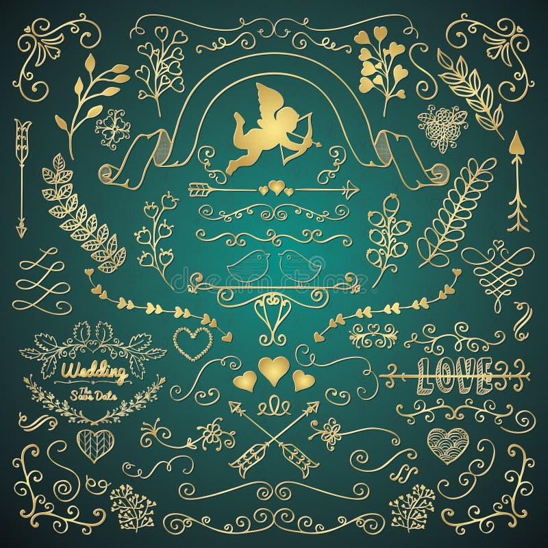 Złota ręka Kreślił Nieociosanych Kwiecistego projekta elementy ilustracja wektor