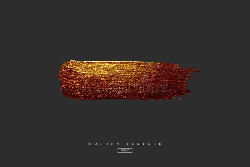 Złota ręka rysująca rozmaz plama Akrylowa tekstura z papierowym skutkiem Złota muśnięcia uderzenie odizolowywający na czarnym tle royalty ilustracja