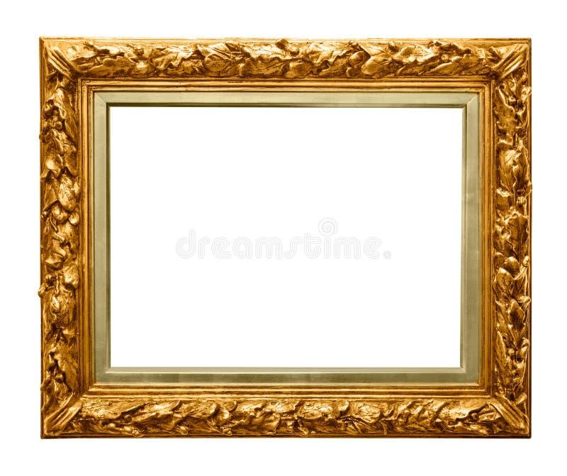 Złota rama na bielu obrazy stock