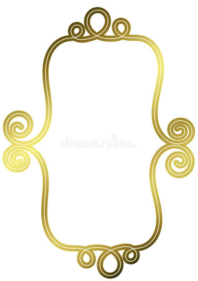 Złota rocznika Bannner drutu rama ilustracja wektor