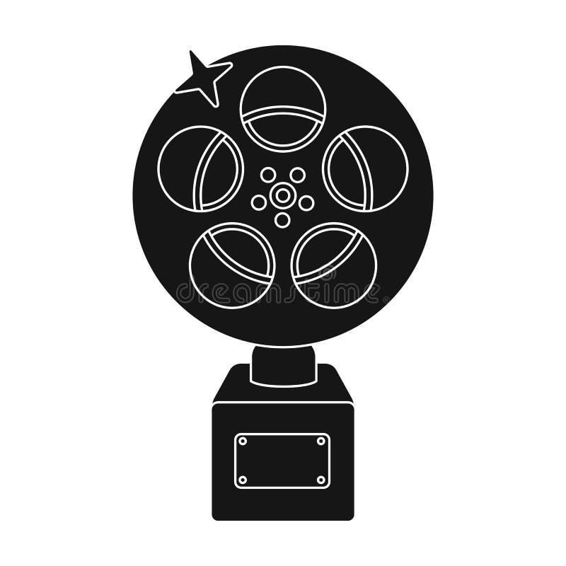 Złota rolka film Nagroda dla najlepszy playbacku film Film nagrody przerzedżą ikonę w czerń stylu wektoru symbolu royalty ilustracja