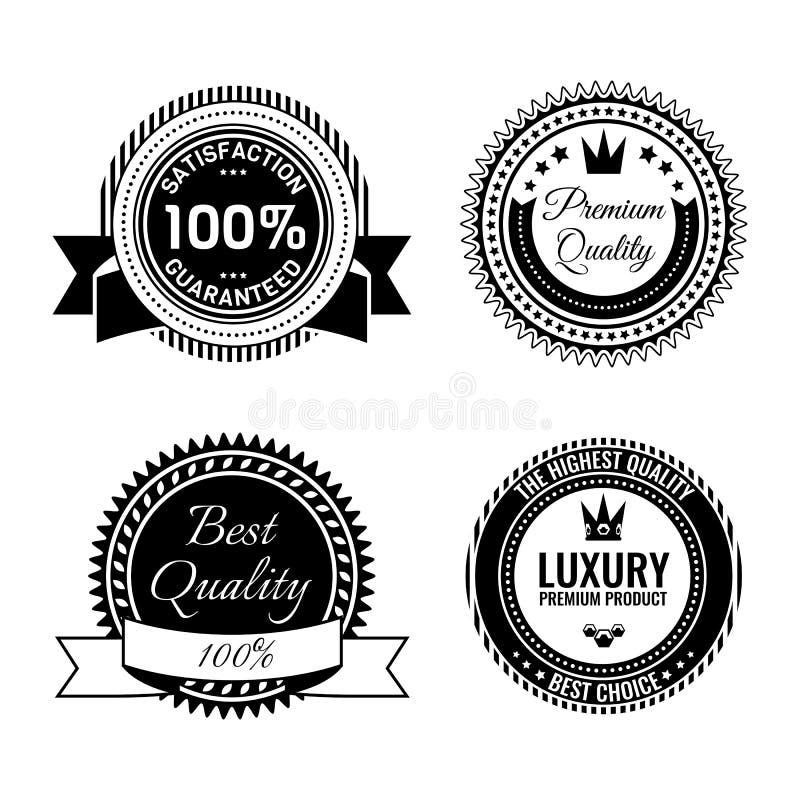 Złota round nagroda pieczętuje kolekcję z inskrypcjami Metal odznaki royalty ilustracja