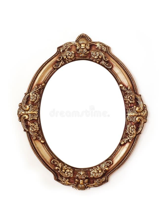Złota round rama odizolowywająca na białym tle obrazy royalty free