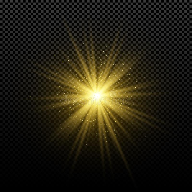 Złota rozjarzona złota gwiazda na przejrzystym tle Rozjarzona magiczna gwiazda bystre flary abstrakcjonistyczni tła złota promien ilustracji