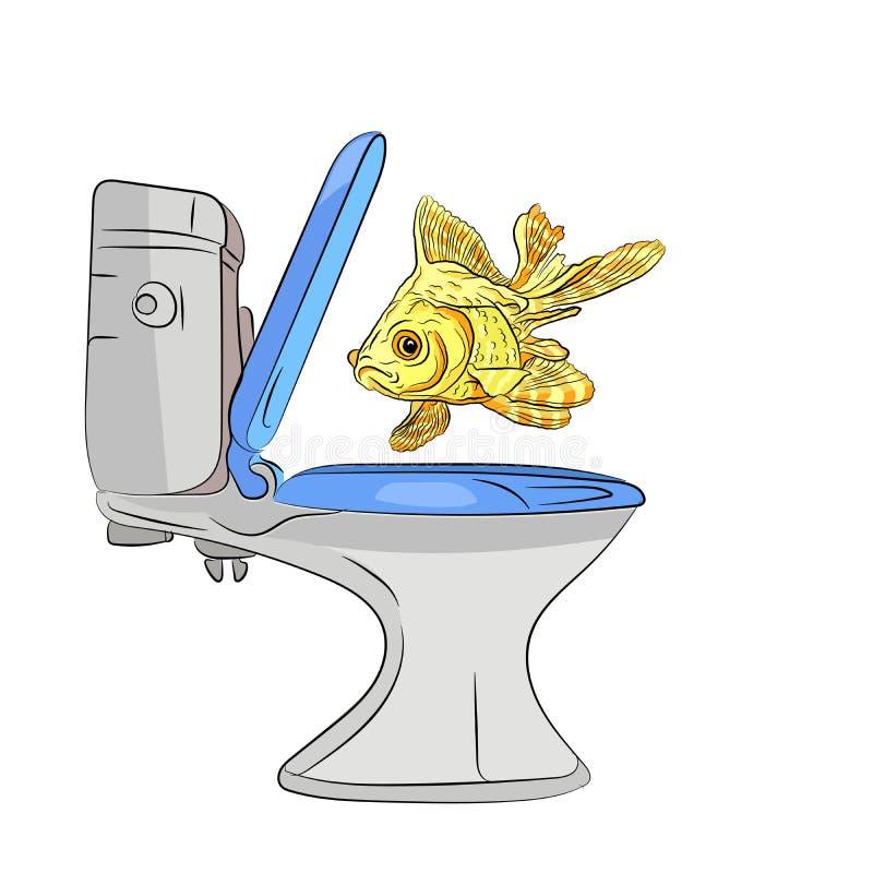 złota ryba pozwalał iść w toaletę robi ilustracja wektor