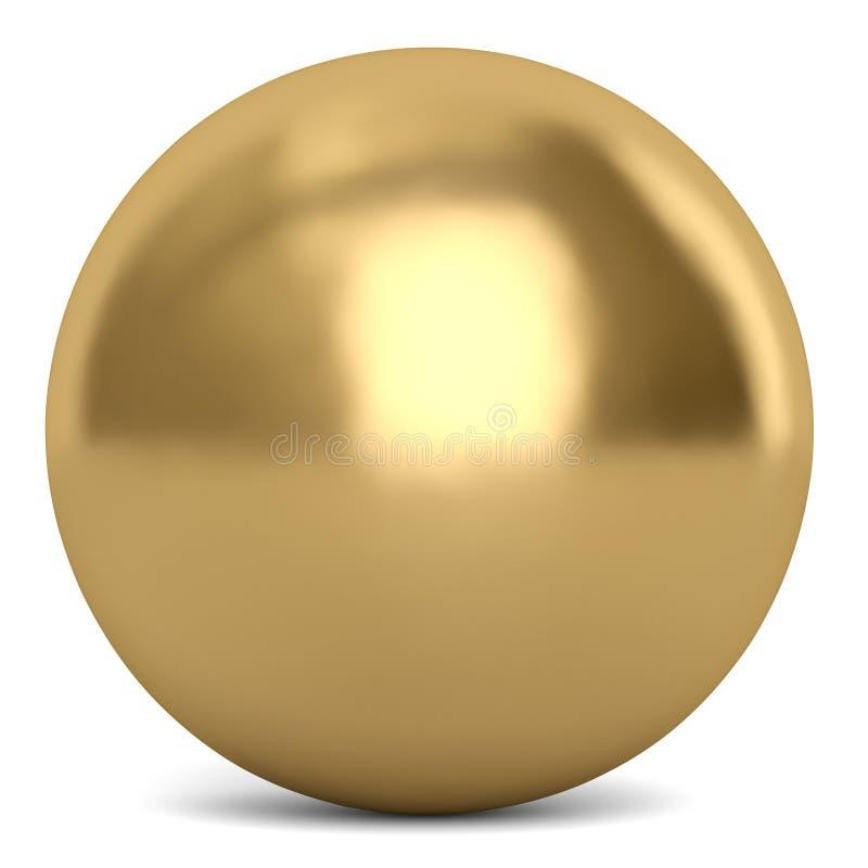Złota sfera lub piłka odizolowywający na białym tle 3d illustrat royalty ilustracja