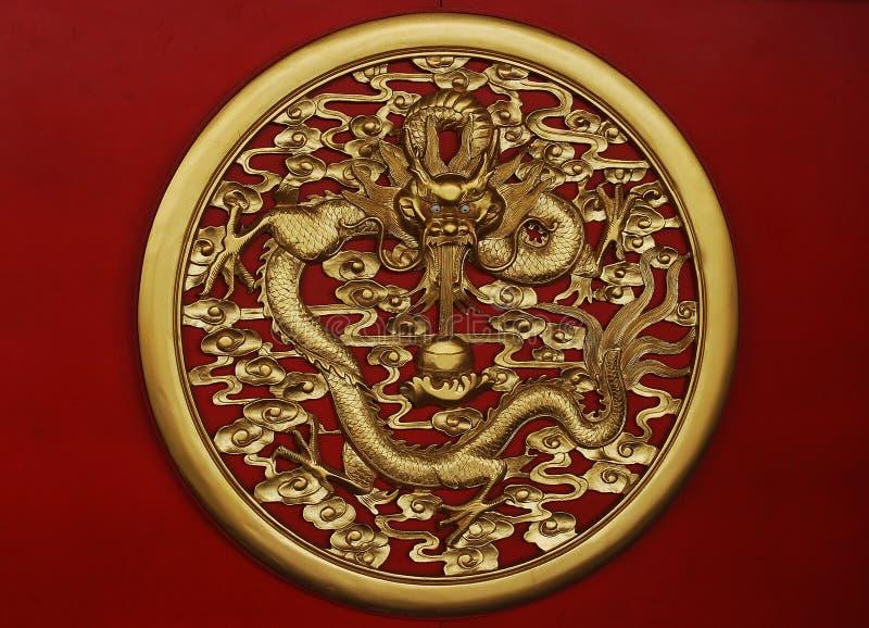 złota smok rzeźba obrazy stock