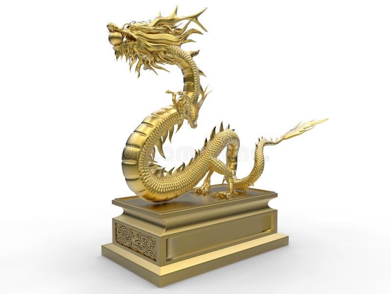 Złota smok statua na stojaku ilustracji