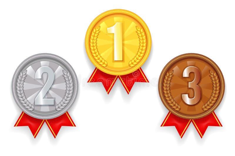 Złota srebra brązu nagrody sporta miejsca 1st 2nd 3rd medalu czerwone tasiemkowe ikony ustawiają wektorową ilustrację ilustracji