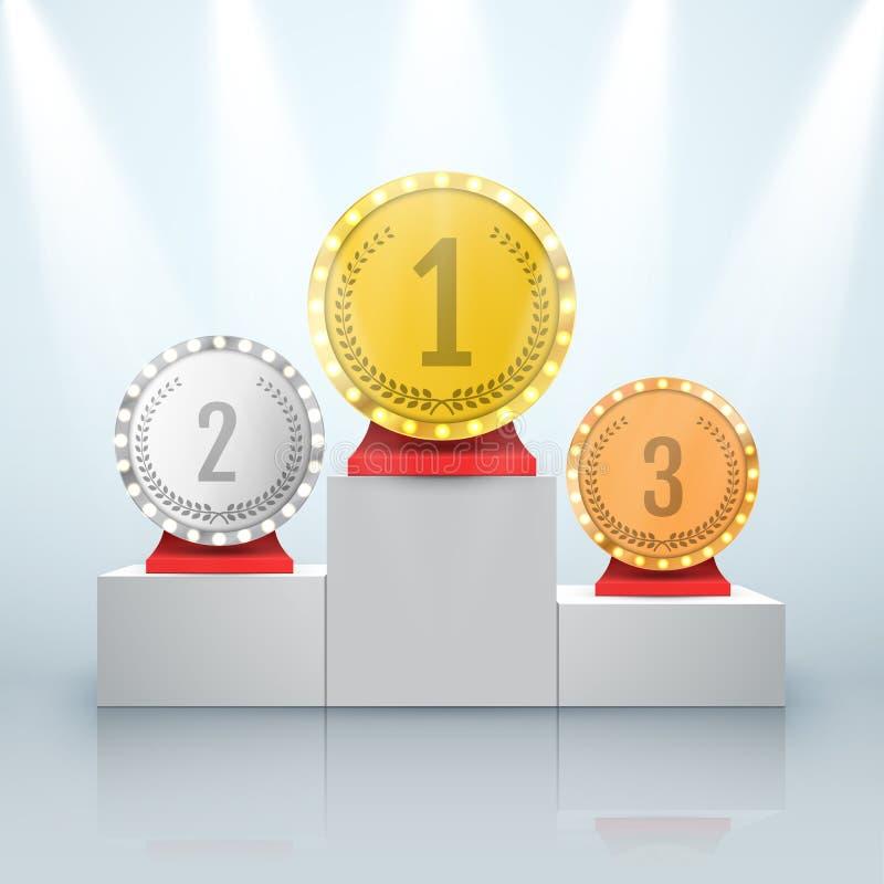 Złota, srebra i brązu trofeum filiżanka na nagrodzonym podium, royalty ilustracja