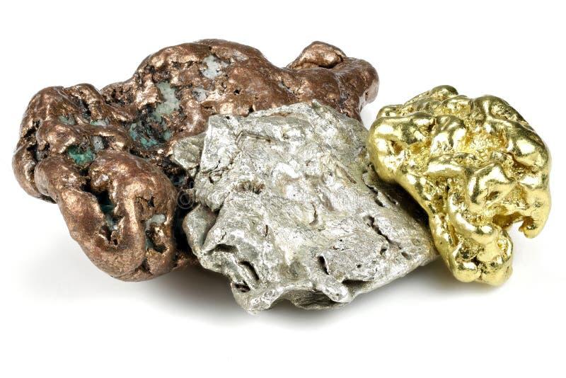 złota, srebra i groszaka bryłki, fotografia stock