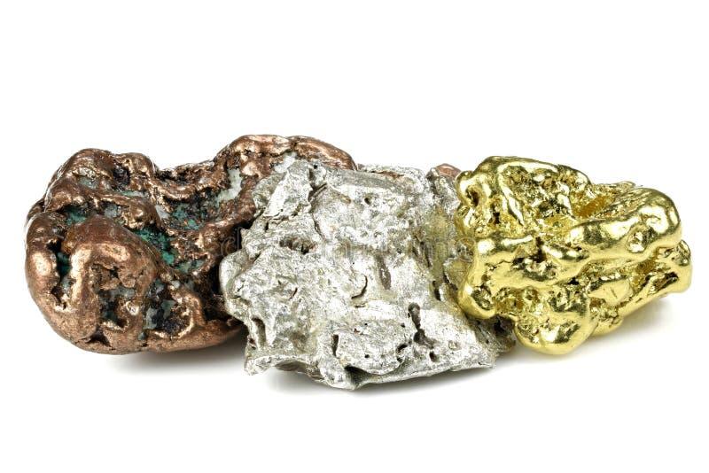złota, srebra i groszaka bryłki, zdjęcia stock