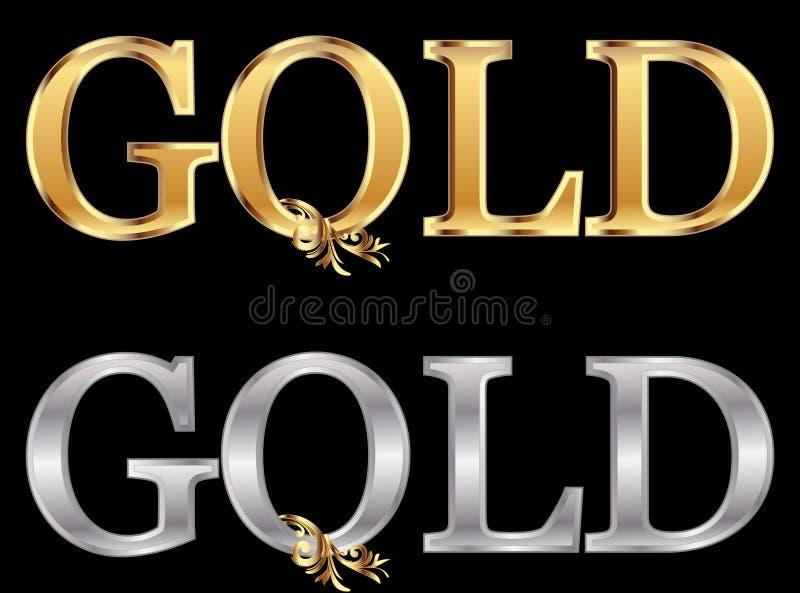 złota srebra słowo ilustracji
