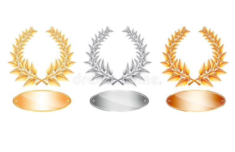Złota srebro i laurowy wianek etykietka i ilustracji