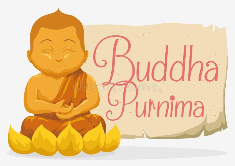 Złota statua Buddha i ślimacznica dla Vesak, Wektorowa ilustracja ilustracja wektor