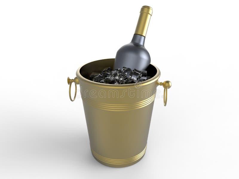 Złota szampańska butelka w lodowym wiadrze ilustracji