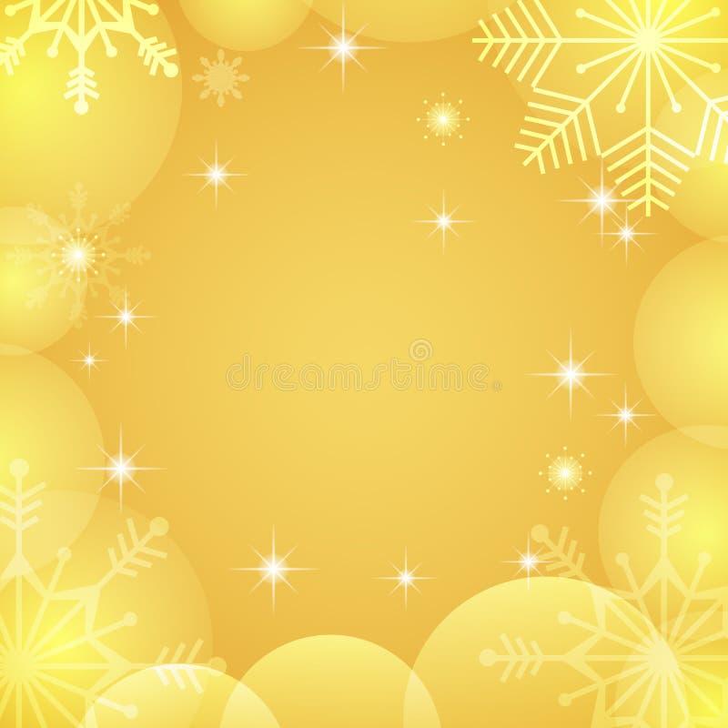 złota tło zima Elegancki złota xmas kartka z pozdrowieniami Luksusowy zima wakacji projekt z bokeh, przejrzyści płatki śniegu, bu ilustracji