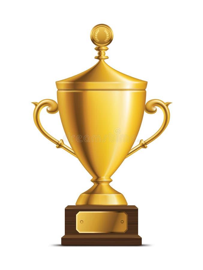 Złota trofeum filiżanka ilustracji