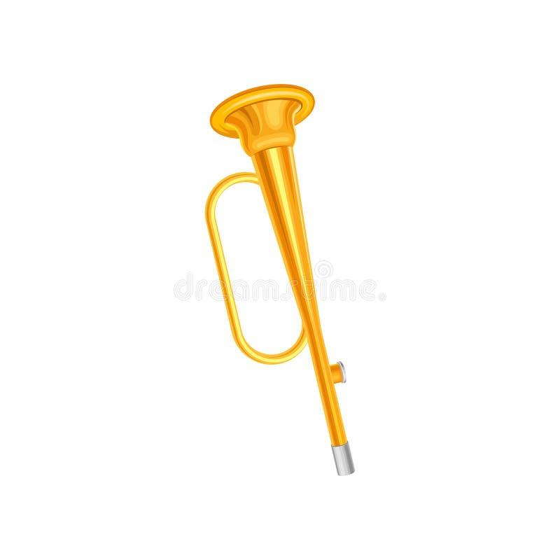 Złota trompette ikona Pojęcie mały mosiężny instrument muzyczny Dekoracyjny element dla muzycznego sklepu, promo plakat ilustracji