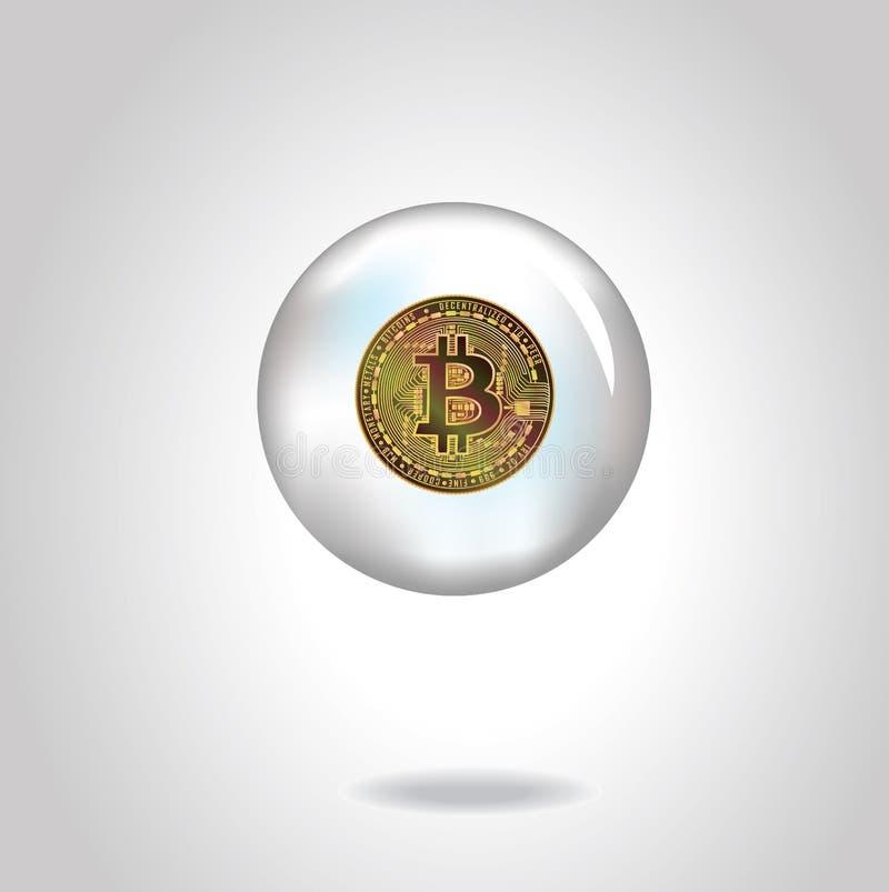 Złota wektorowa realistyczna moneta z bitcoin symbolem w mydlanym bąblu EPS10 zdjęcie stock