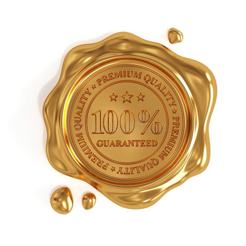 Złota wosk foka 100 procentów premii ilości znaczek odizolowywający royalty ilustracja